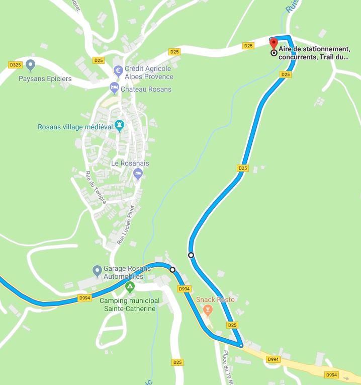 Rejoindre l'aire de stationnement Trail du Fourchat en montant de Nyons